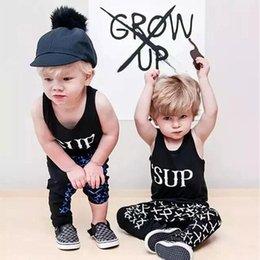 Wholesale 2016 Newborn Infant Baby Boys Girls cool Clothes T shirt Long Pants Outfits Set