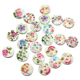 Mixtes Multicolore Fleur imprimer des motifs, 2 trous ronds Boutons en bois, pour la couture, scrapbooking embellissements Artisanat Bijoux faisant minable