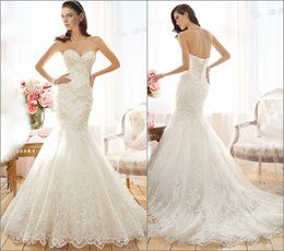 Wholesale 2015 Fascinating Mermaid Wedding Dresses Beaded Lace Sweetheart Lace up Court Train Ivory White Bridal Gowns Church Brides Dress Gown