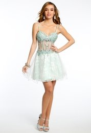 Wholesale 2015 Sage lace Short Party Dress A line Beaded sweetheart neckline with spaghetti straps appliques blackless zipper sleeveless