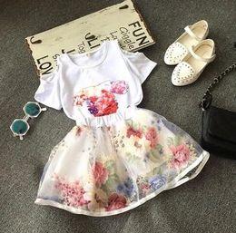 Wholesale Girls Flower Printed Sets Summer Korean Kids Clothes Children Casual Open Shoulder T shirt Tops Floral Tulle Short Skirt