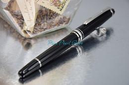 MB-163 Meisterstuck AAA + Haute Qualité Meilleur Design Pure Noir Résine Argent-Clip Rouleau Stylo à bille + 2 recharges supplémentaires et une pochette en velours