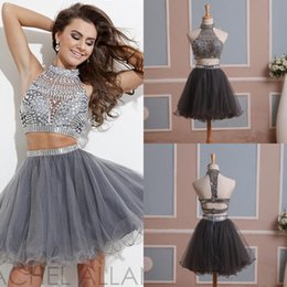 Wholesale 2015 In Stock Two Pieces Short Homecoming Dresses with High Neck Beads Rhinestones Tulle Graduation Dresses Mini Prom Gowns Real Pictures