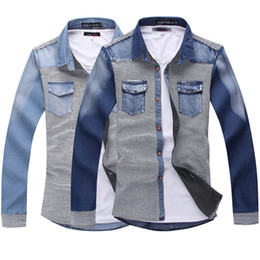 Discount Dress Style Men Jeans Denim Shirt | 2017 Dress Style Men ...