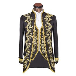 Wholesale New Luxury Embroidery Costumes Wedding Suit For Men Groom Classic Double Breasted Suits Slim Fit Black Tuxedo With Pants