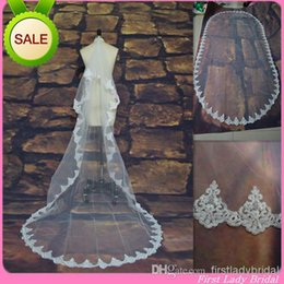 Wholesale Cheapest Price White Or Ivory Wedding Bridal Veils Tulle Lace Appliqued M Long New