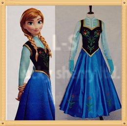 Wholesale Livraison gratuite Snow Queen princesse Anna Robe Costume Cape Hallow Frozen princesse Anna Cosplay Dress neige Cosplay Costume Lady Femmes