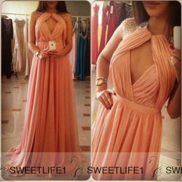 Wholesale 2015 Coral Long Bridesmaid Dresses IN STOCK Cheap Under Crew Neck Open Back Sheer Maid Of Honor Ruched Formal Gowns A Line Sweep Train
