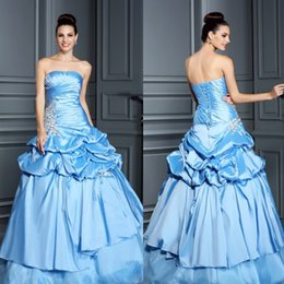 Wholesale Perfect Modern Ball gown Quinceanera Dresses Strapless Floor Length Taffeta beads Pick ups Tiers Organza Evening Gowns W5222