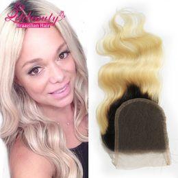 Discount ombre brazilian loose wave closure 7A Ombre Color 4X4inch Lace Closure Brazilian Virgin Hair Body Wave Closure blonde 1b 613# Lace Closure Bleached Knots Free Ship