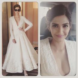 Wholesale 2015 Best Selling Sonam Kapoor Red Carpet Celebrity Dresses Applique Deep V neck Long Sleeve Ankle Length Long Gorgeous Evening Prom Dress