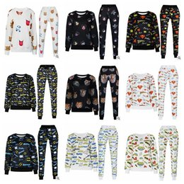 Wholesale LJJH780 Hot Fashion Unisex D Emoji Print Sweatshirts Sweatpant Joggers Pants T Shirts Pullovers Girls Sweat Shirt Trousers Sport Suits