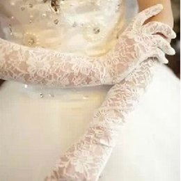 Wholesale Christmas Cheap Long Bridal Gloves Luxury Lace Elbow Length Finger Gloves Hollow Beige White Red Black Bridal Gloves Dhyz