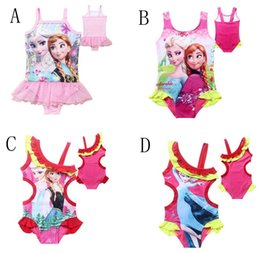 Wholesale 4 Style Y Children s lace Gauze Swimwear frozen Elsa Anna girls Beach Swimwear Summer Princess One Piece Swimsuit C001