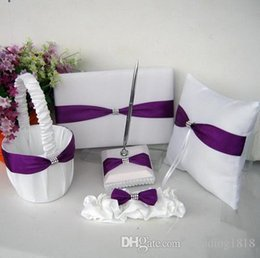 Wholesale Wedding Supplies Garter ring pillow basket Guest Books Pen in Sets new style