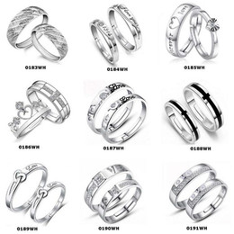 Top Grade Silver Couple rings Hot Sale Crystal Charms Lovers Band Ring Party Gift Jewelry Wholesale Free Ship 0193WH
