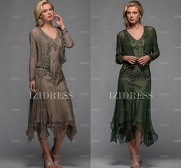 Wholesale Formal Mother off Bride Dresses Chiffon Sexy Knee Length Modern Mother of the Bride Dresses with Jacket Plus Size Evening Dresses Gowns