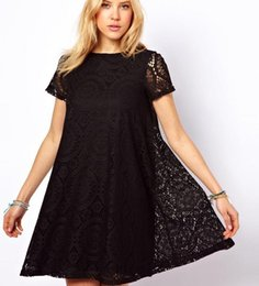Gros robe en dentelle de 2015 New Casual Plus Size Robes Femmes lâche manches courtes Expédition dentelle robe de bal gratuit
