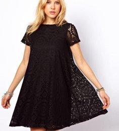 Vestido Lace Atacado 2015 New Casual Plus Size Vestidos Verão Mulheres soltas de manga curta envio Lace vestido de baile Grátis