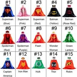Wholesale 15 colors Superhero capes mask set Kids Superman Cape Superman Batman Spiderman Supergirl Batgirl Robin kids Christmas Halloween cape