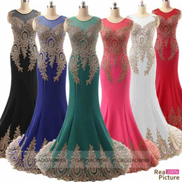 Wholesale Sheer Neck Formal Mother of the Bride Evening Prom Dresses Lace Appliques Mermaid Bridal Wedding Party Celebrity Gowns Cheap Real Image