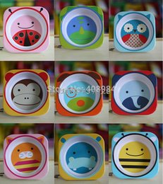 Wholesale pieces Kid Cartoon pattern cute animals bowls Security children s meals dishes cutlery