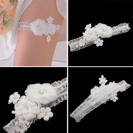 Wholesale Women Lace Bridal Garters Wedding Accessories Rhinestone Embroidered Flower Decor White Sexy Bride Sheer Leg Garter Stretched Belt