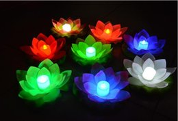 Wholesale 400pcs New Arrive LED Lotus Lamp in Colorful Changed Floating Water Pool Wishing Light Lamps Lanterns for Party Decoration