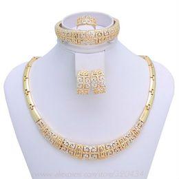 Wholesale New Vintage gold necklace Fashion full rhinestone gold plated jewelry set