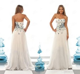 Wholesale Peacock Prom Dresses Sexy A Line Sweetheart Sleeveless Colorful Beading Rhinestones Bodice Zipper Back White Party Dresses Cheap Gowns