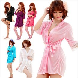 Wholesale 2015 New Good quality Sexy Lingerie Satin Sleepwear Silk Detail Robe and G String Sexy Sleepwear Nightdress