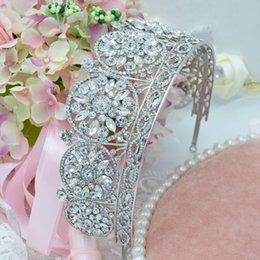 Wholesale Elsie Wei Bridal Jewelry Rhinestone Alloy European exaggerated retro gem palace large crown tiara wedding hair accessories