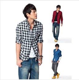 Wholesale New Fashion Mens Long Sleeve Luxury Casual Slim Fit Stylish Dress Shirt Plaid Check Shirt Colors DH04