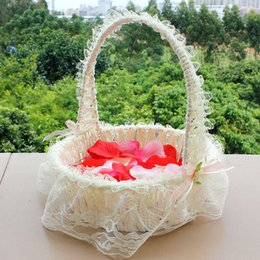 Wholesale LN Beauty Wedding Flower Basket Fast Delivery Bridal Accessories Portable Basket Hand Basket Lace Edge