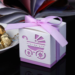 Wholesale Baby Shower Favor Boxes Square cm Paper Gift Box with Hollow Baby Car and Ribbon Decor Party Favours Special Wedding Candy Boxes
