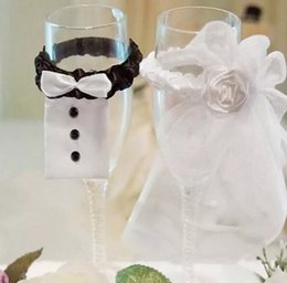Wholesale 10 Sets Wedding Party Toasting Wine Glasses Decor Bride Groom Tux Bridal Veil