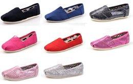 Wholesale Le vendeur paie Livraison gratuite Chaussures plates de chaussures de mode de marque de vente chaude pour des enfants de filles de garçons respirent les chaussures décontractées de chaussures de toile scintillent des chaussures pairs
