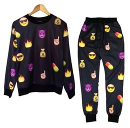 Wholesale Harajuku new D print tracksuits cartoon emoji jogging suits sweat shirts pants piece set for men women sportwear