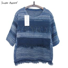 Wholesale FG1509 Simplee Apparel tassel short pullover sweater warm Autumn casual tricot pull femme Knitted crochet women oversized female jumper