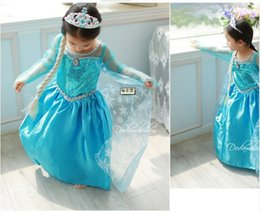 Wholesale 2014 Frozen Elsa Princess summer long sleeve dress kid s Christmas Birthday party dresses