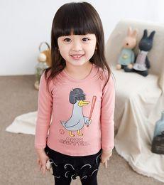 Wholesale Girls Sweatshirts Autumn Wear Outfit Europe Fashion Kids T shirts Cartoon Cute Duck Printed Tops Tee Children s Pullovers Sweatshirt