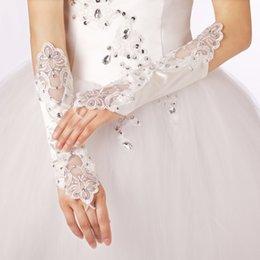 Wholesale 2015 New Arrival Fashion White Beaded Simple Fingerless Stretch wrist length Bridal wedding Gloves Tulle Cheap LTT1004