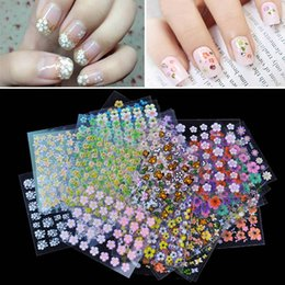 Wholesale Top Nail Sheet Beauty Floral Design Patterns Nail Stickers Mixed Decals Transfer Manicure Tips D Nail Art Decorations JH177