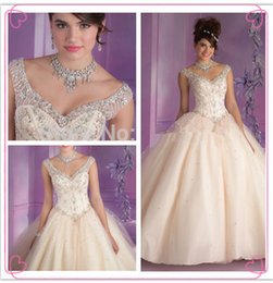 Wholesale Sweet Princess Aqua Champagne Ball Gown Dress for Years Debutante Gown Crystal Quinceanera Dresses Quinceanera Gowns