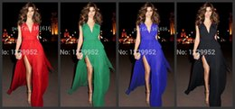 Wholesale 2015 Prom Dresses In The Stock Sexy Evening Dress Ready To Ship A Line Deep V Neck Chiffon Side Front Dress For Woman Party Dresses W019