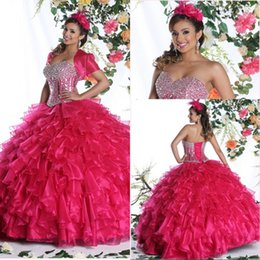 Wholesale 2015 Ball Gowns Quinceanera Dresses Cascading Ruffles Pageant Prom Dress Short Sleeve Jacket Cheap Long Beaded Sexy China Formal