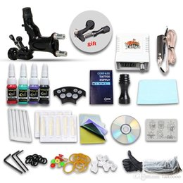 Wholesale Complete Tattoo Kits Guns Dragonfly Rotary Machine Colors Inks Sets Pieces Disposable Needle LED Power Supply DIY DIY