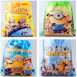 Wholesale 34 cm Minion Drawstring Bags Despicable Me kids backpacks non woven backpack cartoon string backpacks in stock