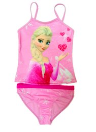 Wholesale Children Girls Swimwear Summer Kids Suspender Froze Tops Pants Beach Wear Childs Princess Elsa Anna Cartoon Swimsuit H1555