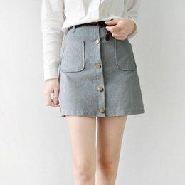Wholesale Summer Fashion Woman Skater Saia Jupe Petite Retro Vintage Corduroy Front Button WIth Belt Pockets Short Skirt femme roupas